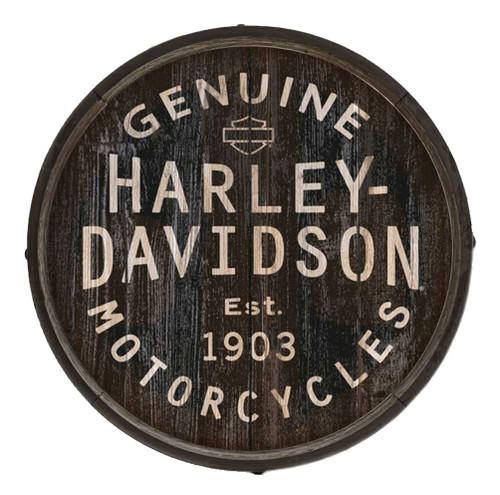 Harley-Davidson® Distressed Genuine H-D Logo Barrel End w/ Metal Rim, BE-GEN-HARL - Wisconsin Harley-Davidson