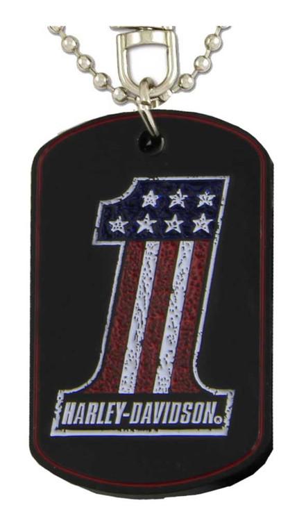 Harley-Davidson® Distressed RWB #1 & H-D Dog Tag & Chain, Black 8007188