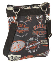 Harley-Davidson® Women's  X-Body Crossbody Sling Purse, Vintage Print 99616-VIN - Wisconsin Harley-Davidson