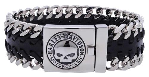 HarleyDavidson Mens Hidden Clasp Willie G Skull Bracelet Black