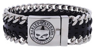Harley-Davidson® Men's Hidden Clasp Willie G Skull Bracelet, Black HSB0183