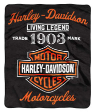 Harley-Davidson® Legend Bar & Shield Raschel Throw Blanket, 50 x 60 inch NW350861 - Wisconsin Harley-Davidson