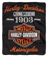 Harley-Davidson® Legend Bar & Shield Raschel Throw Blanket, 50 x 60 inch NW350861 - Wisconsin Harley-Davidson