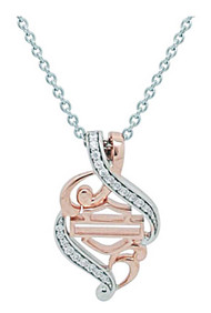 Harley-Davidson® Women's Rose Gold & Silver Bling Filigree Necklace HDN0361-18