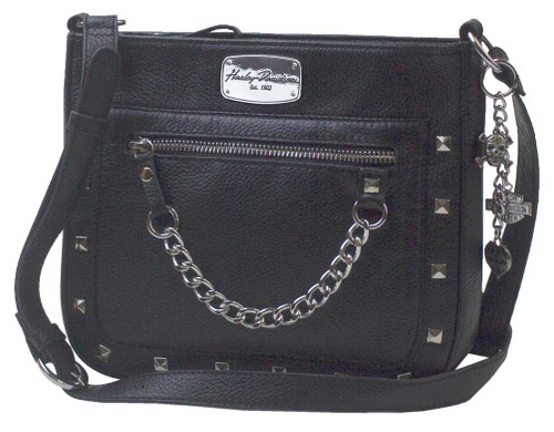 Harley-Davidson® Women's Chain Gang Leather Crossbody Purse, Black CG2342L-BLK