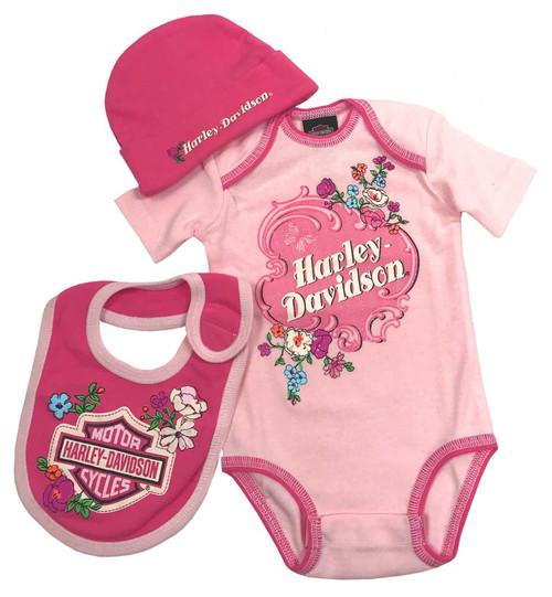 Harley-Davidson® Baby Girls' Glittery 3 Piece Creeper Gift Box Set, Pink 2501721