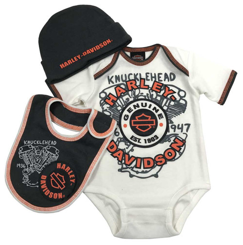Harley-Davidson® Baby Boys' H-D 3 Piece Newborn Gift Box Set, Cream 2551747