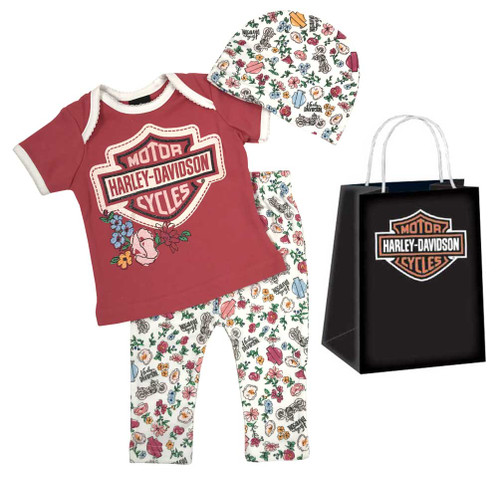 Harley-Davidson® Baby Girls' Glittery 3 Piece Gift Set w/ Gift Bag, Pink 2501727
