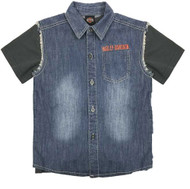 Harley-Davidson® Little Boys' Frayed Denim Blow-Out Shirt 2-Piece Set 1081705