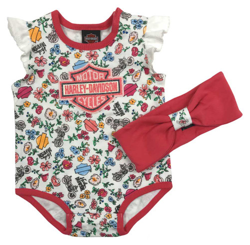 Harley-Davidson® Baby Girls' Print 2 Piece Newborn Creeper & Headband Set 3001723