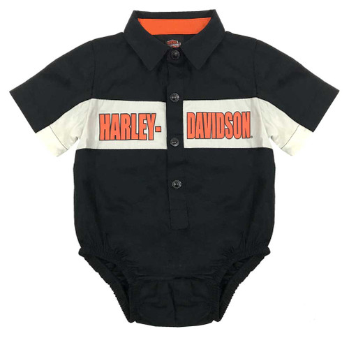 Harley-Davidson® Baby Boys' Poplin B&S Woven Newborn Creeper, Black 3051749