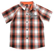 Harley-Davidson® Little Boys' Plaid Short Sleeve Woven Shirt, Orange 1081713 - Wisconsin Harley-Davidson