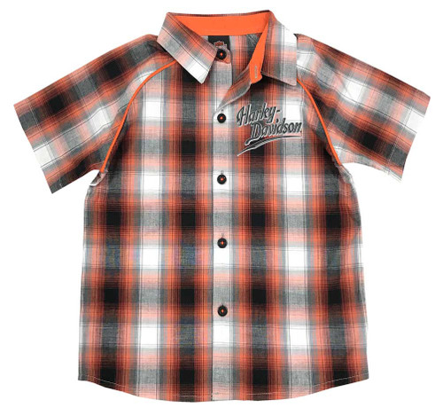 Harley-Davidson® Big Boys' Plaid Short Sleeve Woven Shirt, Orange 1091713 - Wisconsin Harley-Davidson