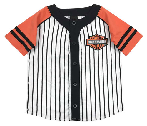 Harley-Davidson® Big Boys' Striped B&S Raglan Baseball Jersey, White 1091715 - Wisconsin Harley-Davidson
