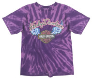 Harley-Davidson® Little Girls' Glitter Wings Swirl Tie-Dye Tee, Purple 1530731