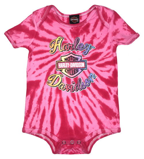 Harley-Davidson® Baby Girls' Sugar Glitter B&S Tie-Dye Creeper, Pink 3000739