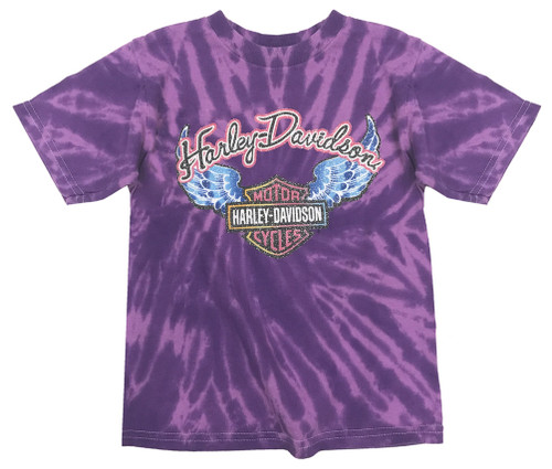 Harley-Davidson® Big Girls' Glitter Wings Swirl Tie-Dye Tee, Purple 1540731
