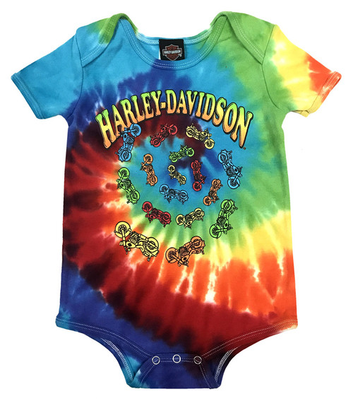 Harley-Davidson® Baby Boys' Bikes Swirl Rainbow Tie-Dye Creeper 3050747