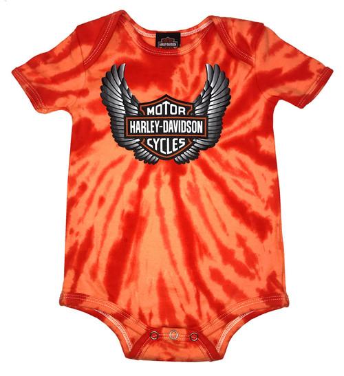 Harley-Davidson® Baby Boys' Winged Bar & Shield Tie-Dye Creeper, Orange 3050743