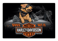 Harley-Davidson® Dogs Get It Embossed Tin Sign, 17 x 11.5 inches 2011311 - Wisconsin Harley-Davidson