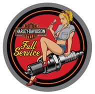 Harley-Davidson® Spark Plug Babe Embossed Tin Sign, 14 inch diameter 2011371 - Wisconsin Harley-Davidson
