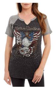 Harley-Davidson® Women's American Spirit Raglan Short Sleeve Top, Charcoal