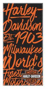 Harley-Davidson® Street Art H-D Beach Towel, 30 x 60 inch, Black/Orange NW350892 - Wisconsin Harley-Davidson