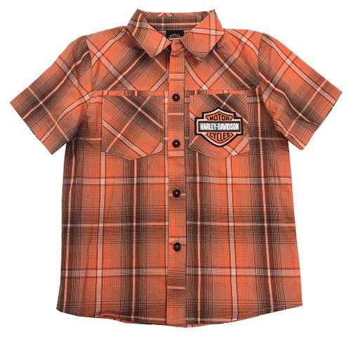 Harley-Davidson® Big Boys' Plaid Short Sleeve Shop Shirt, Orange 1092723