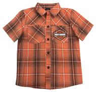 Harley-Davidson® Little Boys' Plaid Short Sleeve Shop Shirt, Orange 1072723