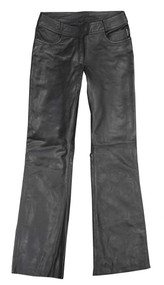 Redline Women's Jean Style Leather Motorcycle Riding Pants, Black L-3507