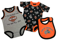 Harley-Davidson® Baby Boys' Biker 2 Piece Infant Creeper Set w/ Bib 3062701