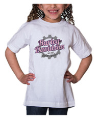 Harley-Davidson® Little Girls' Glitter Geared Up Short Sleeve Toddler Tee, White