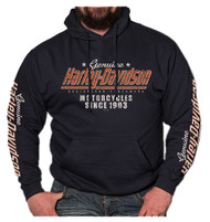 Harley-Davidson® Men's Distressed Sprint Long Sleeve Pullover Hoodie, Navy Blue