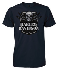 Harley-Davidson® Men's Voltage Skull Short Sleeve Crew-Neck T-Shirt, Navy Blue