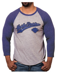 Harley-Davidson® Men's Game Day H-D Raglan 3/4 Sleeve Shirt, Blue & Gray Heather