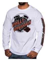 Harley-Davidson® Men's Bright Engine Crest Long Sleeve Crew-Neck Shirt, White