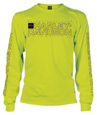 Harley-Davidson® Men's Shakedown H-D Long Sleeve Crew-Neck Shirt, Safety Green
