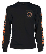 Harley-Davidson® Men's Capsule Willie G Skull Long Sleeve Pocket Shirt, Black