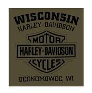 Harley-Davidson® Men's Distressed Uprising Long Sleeve Shirt, Fatigue Green