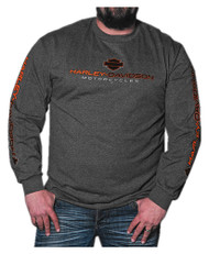 Harley-Davidson® Men's League H-D Script Long Sleeve Shirt, Charcoal Heather