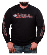 Harley-Davidson® Men's Crossfire Flaming Bar & Shield Long Sleeve Shirt, Black