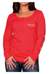 Harley-Davidson® Women's Road Queen Long Sleeve Henley Shirt, Poppy Red