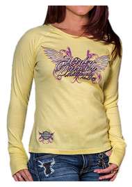 Harley-Davidson® Women's Tenacious Long Sleeve Raglan Shirt, Mellow Yellow