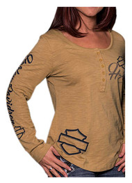 Harley-Davidson® Women's Persistence Long Sleeve Henley Shirt, Light Bronze