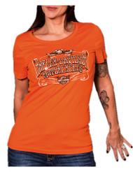 Harley-Davidson Women/'s Road Queen Long Sleeve Henley Shirt Poppy Red
