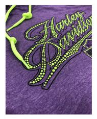 Harley-Davidson® Women's Power Ride Long Sleeve Hoodie, Purple & Neon Yellow