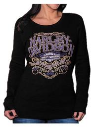 Harley-Davidson® Women's Warrant Studded Long Sleeve Ribbed Shirt, Black