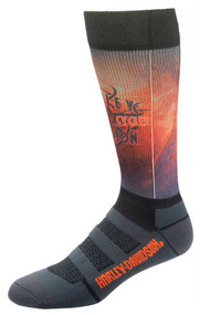 Harley-Davidson® Wolverine Men's Cushion Vented Performance Flame Riding Socks - Wisconsin Harley-Davidson