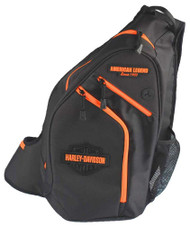 Harley-Davidson® Neon Orange Sculpted Bar & Shield Sling Backpack BP2017S-ORGBLK - Wisconsin Harley-Davidson