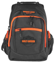 Harley-Davidson® Neon Orange Sculpted Bar & Shield Backpack, Black BP2037S-ORGBLK - Wisconsin Harley-Davidson